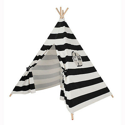Black And White Striped Children's Teepee / Wigwam / Play Tent / Play House Kids