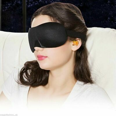 3D Soft Padded Blindfold Eye Mask Travel  Sleep Aid Shade Cover Ear plugs