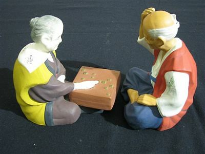 Mint Rare Pair Of Authentic Sato Hakata Japanese Dolls Hand Painted