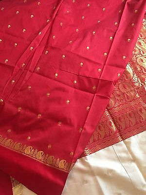 Designer Indian Katan Saree Cream & Red Silk Sari Zari Work 240678