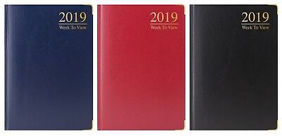2017 Slim Long Week to View Vibrant Leatherette Diary With Stitched Band Fashion