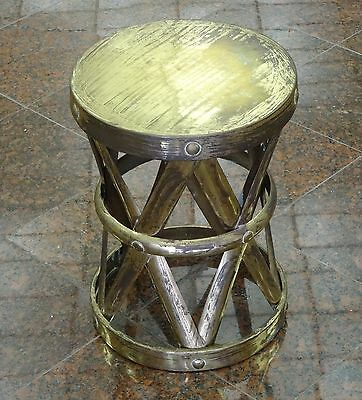 VINTAGE 60's BRASS X FORM RIVETED DRUM TABLE or STOOL : ESTATE of JACKIE GLEASON