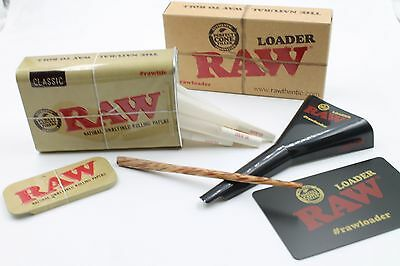 Raw 1 1/4  Size Cone Bundle With Raw Loader And Tin