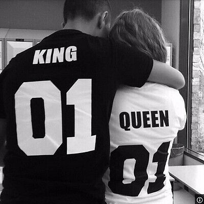 King 01 and Queen 01 - Love Matching Shirts - Couple Tee Tops Hot Fashion