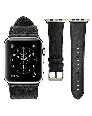 Quality Classic Black Leather Watch Strap Band for Apple Watch Series 2 42mm