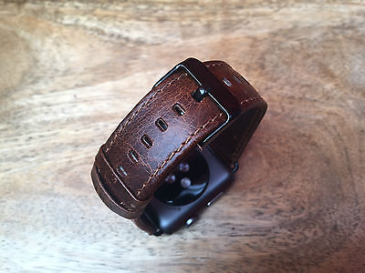 Quality Vintage Coffee Leather Watch Strap Band for Apple Watch Series 3 42mm