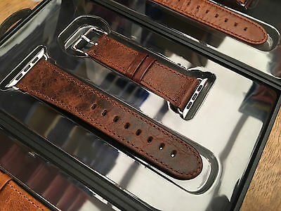 Quality Vintage Coffee Leather Watch Strap Band for Apple Watch Series 2 42mm