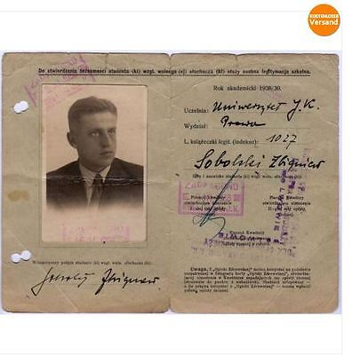 POLAND: INSURANCE ID CARD FOR STUDENT (Lwow - 1938) (# 4643)