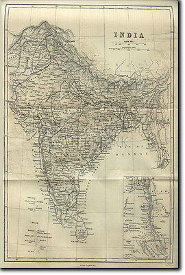 Map Of India From 1882 - Old Historic Vintage Photo Print Poster