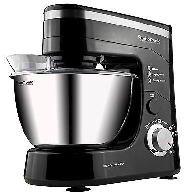 TurboTronic 1200W Food Stand Mixer With 5L Stainless Steel Mixing Bowl BLACK