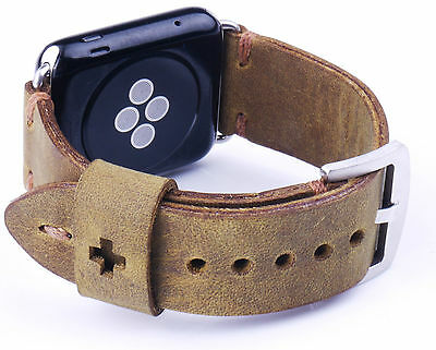 Quality Handmade Brown Leather Watch Strap Band For Apple Watch Series 2 1 42mm