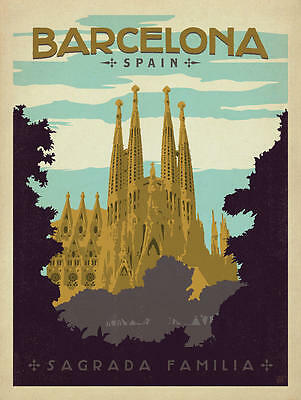 SPAIN BARCELONA vintage retro travel POSTER Print A4 A3 Buy 2 Get 1 FREE