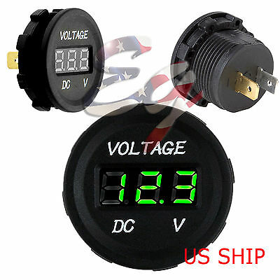 Green LED Digital Waterproof Voltmeter Gauge Meter 12V-24V Car Boat Motorcycle