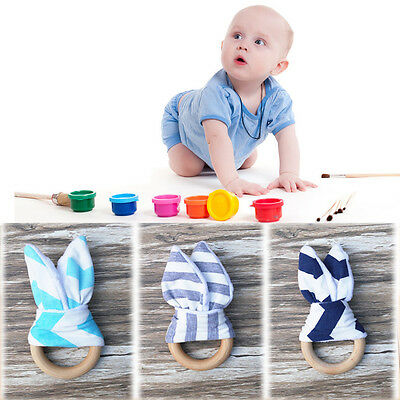Safety Natural Baby Teething Ring Wooden Chewie Cute Bunny Teether Sensory Toy