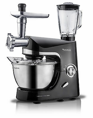 TurboTronic 2000W Food Stand Mixer With Blender & Meat Grinder BLACK