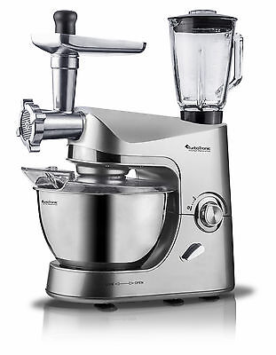 TurboTronic 2000W Food Stand Mixer With Blender & Meat Grinder SILVER