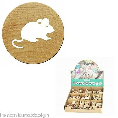Mini Woodies Motivstempel Tiere * Maus * stamp Holzstempel