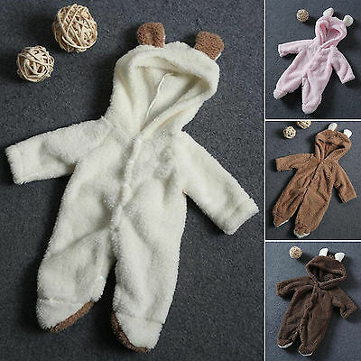 Newborn Toddler Kids Baby Clothes Outfits Hooded Jumpsuit Bodysuit Romper Suit