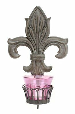 Stonebriar Collection Fleur De Lis Sconce with Plum Glass Cup Resin Purple