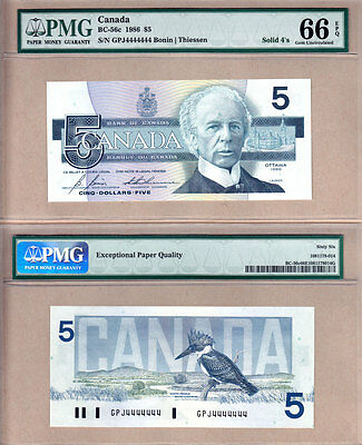 1986 $5 Bank of Canada Bird Series Solid Serial# Note 4444444. PMG GEM UNC66