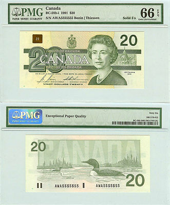 1991 $20 Bank of Canada Bird Series Solid Serial# Note 5555555. PMG GEM UNC66