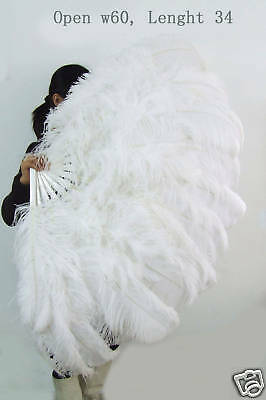 XL 2 layers White Ostrich Feather Fan Burlesque dancer perform friend 60""