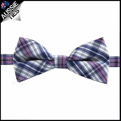 Boys Violet, Blue and White Plaid Bow Tie