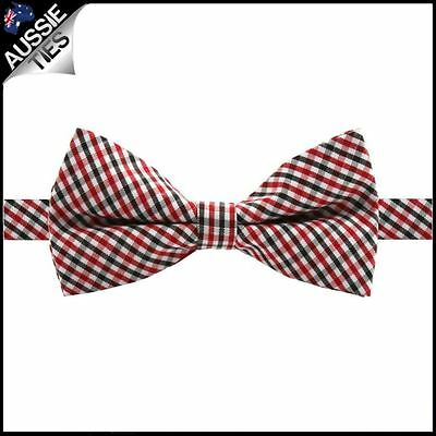 Boys Black, Red and White Gingham Bow Tie