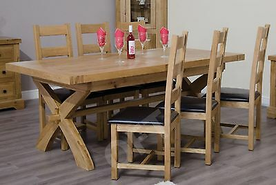 Montero solid oak furniture cross leg extending dining table and six chairs set