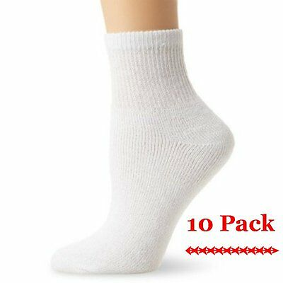 Women's 10 Pack Cushioned Ankle Crew Socks White Soft Comfortable size 9-11