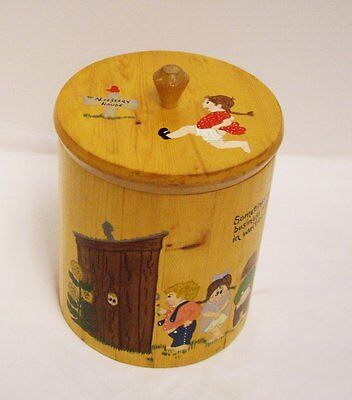 Wood Toilet Paper Holder Canister Hand Painted Country Kids Outhouse Signed