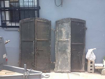 Pair Of Antique Iron Window Shutters - Rare And Unique