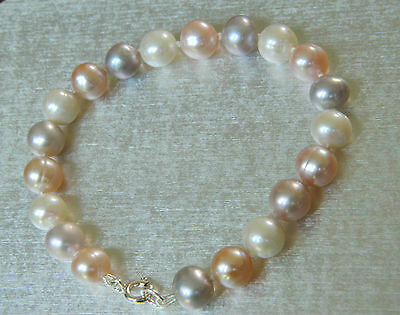 Multi Colour Freshwater Pearl Bracelet Sterling Silver Clasp 7.25 Inch Length