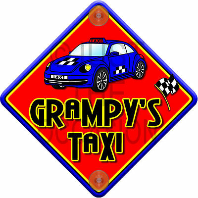 NEW Red & Blue ~ IMPACT GRAMPY'S TAXI ~ Novelty Baby on Board Car Window Sign