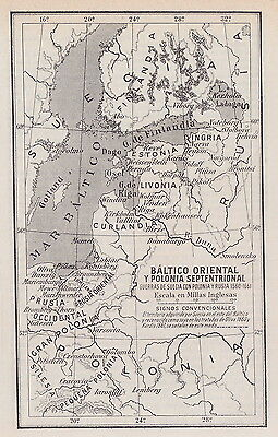 1955 Antique Map of the Baltic Sea