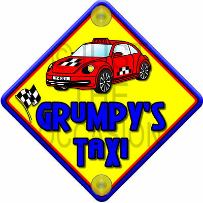 NEW Red & Blue ~ IMPACT GRUMPY'S TAXI ~ Novelty Baby on Board Car Window Sign