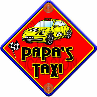 NEW Red & Yellow ~ IMPACT PAPA'S TAXI ~ Novelty Baby on Board Car Window Sign