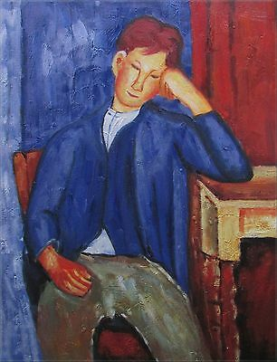 Modigliani The Young Apprentice Repro, Quality Hand Painted Oil Painting,12x16in