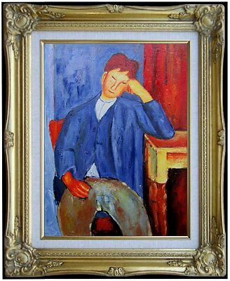 Framed Modigliani The Young Apprentice Repro, Hand Painted Oil Painting, 12x16in