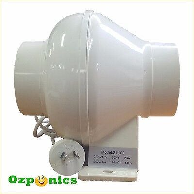 "Inline Exhaust Fan 4""/100Mm 23W Hydroponics Ventilation Duct Blower"