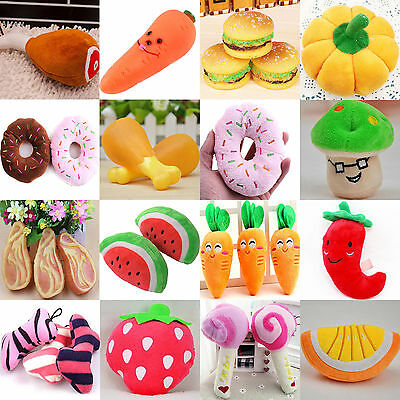 Cute Dog Cat Puppy Pet Chew Play Squeaky Sound Vegetable Chicken Food Plush Toys
