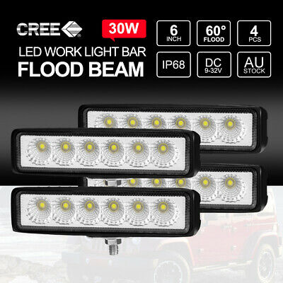 "4x 6"" inch 30W LED Light Bar Flood Work Lights 12V24V Offroad 4WD UTE Truck"