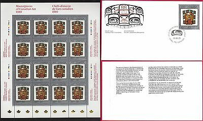 1989 PAINTINGS 2 Harry Foster --- Canada 1241 SHEET + FDC --- CV $39.00
