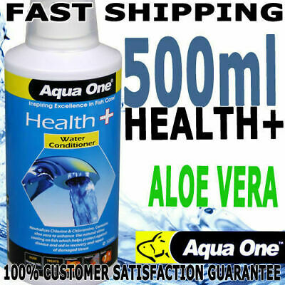 Aqua One Aquarium Fish Health Plus Aloe Water Conditioner Dechlorinator 500ml