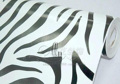 AU SELLER 45cm x 10m Roll Zebra Pattern Vinyl Furniture Wall Paper Sticker p1111