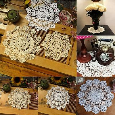 Vintage Flower Cotton Yarn Round Hand Crocheted Lace Doily Mat Coasters Craft