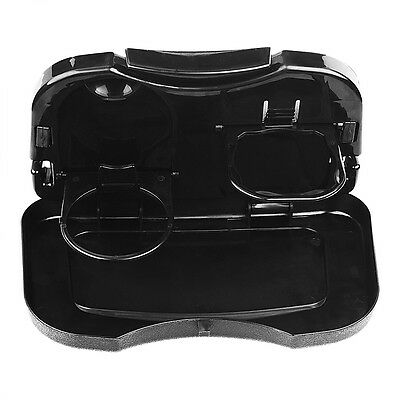 Foldable Auto Car Back Seat Table Drink Cup Tray Food Holder Stand Desk Black