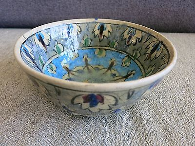 Old Vintage Persian Middle Eastern  Glazed Pottery Bowl