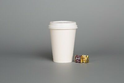 WHITE PAPER CUPS Single Wall Disposable 8oz 12oz & SIP LIDS for Coffee Shop Cafe