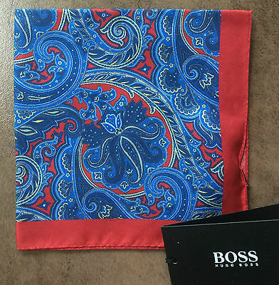 Hugo Boss 100% Silk Blue & Red Paisley Print Pocket Square/hankie Made In Italy